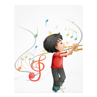 A talented young boy playing with the trumpet letterhead design