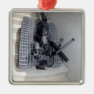 A Talon 3B robot unit climbing a flight of stai Square Metal Christmas Ornament