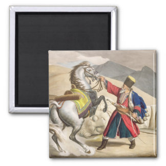 A Tartar with his Horse, engraved by the Thierry B 2 Inch Square Magnet