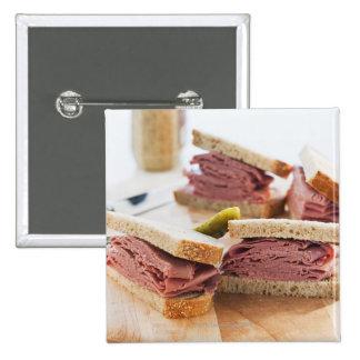 A tasty sandwich pinback button