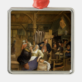 A Tavern Interior with Card Players Metal Ornament