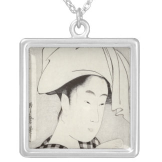 A tea-house in Ryogoku Silver Plated Necklace