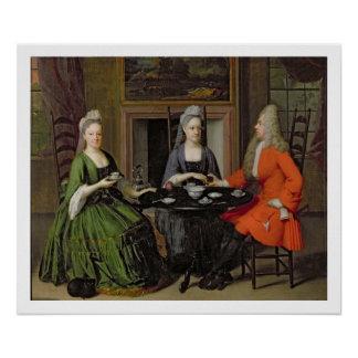 A Tea Party (oil on canvas) Poster