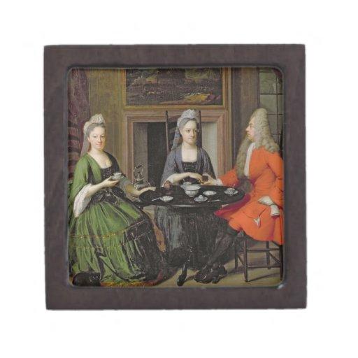 A Tea Party (oil on canvas) Premium Trinket Box