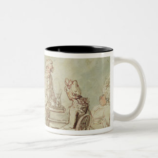 A Tea Party pen ink pencil w c on paper laid Coffee Mugs