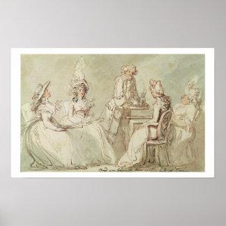 A Tea Party (pen & ink, pencil & w/c on paper laid Poster