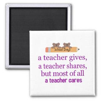 a Teacher cares 2 Inch Square Magnet