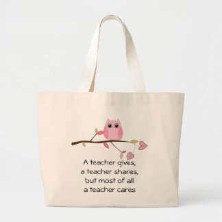 A teacher cares canvas bags