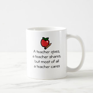 A teacher cares coffee mug