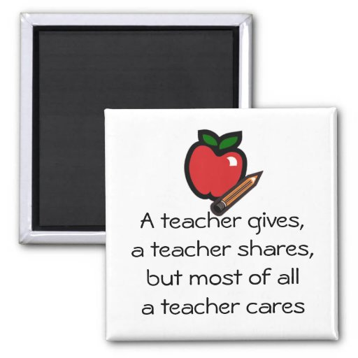 A teacher cares-Customized it 2 Inch Square Magnet