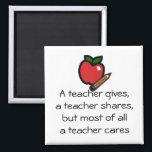 "A teacher cares-Customized it Magnet<br><div class=""desc"">A teacher cares - Customized it</div>"