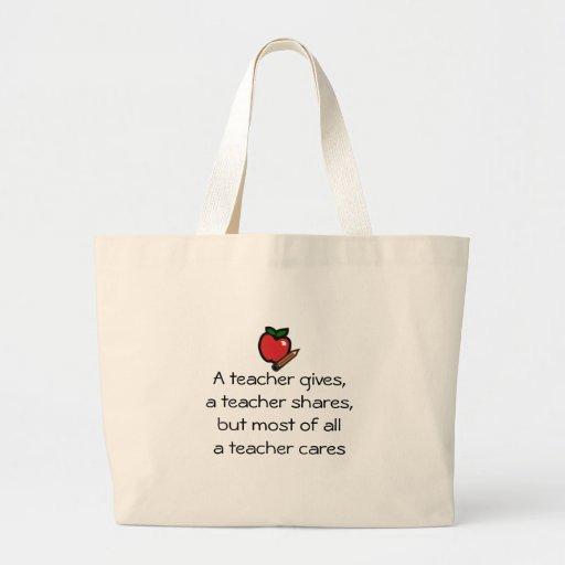 A teacher cares jumbo tote bag