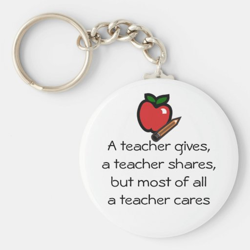 A teacher cares keychain