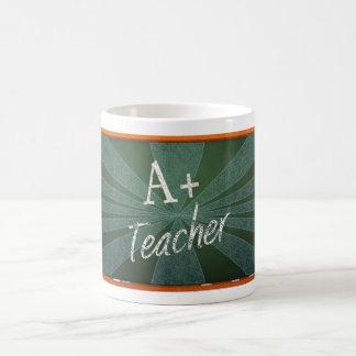 A+ Teacher chalkboard in blue Coffee Mug