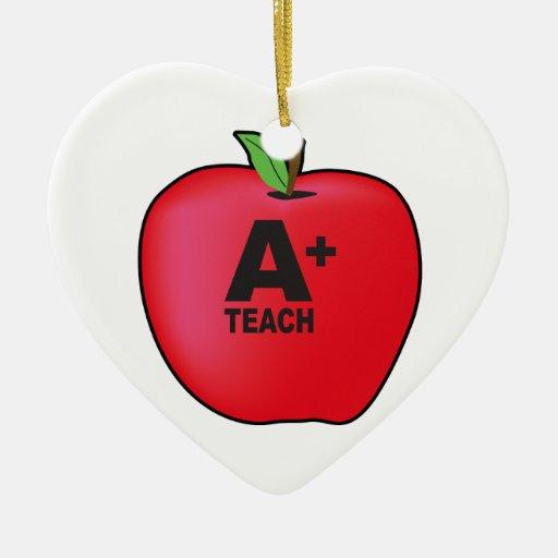 A+ Teacher Double-Sided Heart Ceramic Christmas Ornament