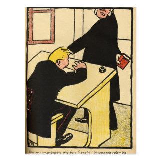 A teacher reprimands his pupil from Crimes Postcard
