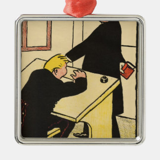 A teacher reprimands his pupil from Crimes Square Metal Christmas Ornament