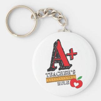 A+ Teachers Rule Keychain