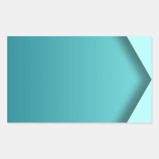 A  teal background rectangular sticker