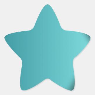 A  teal background star sticker