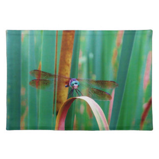 A teal Eyed Dragonfly with cattails Placemat