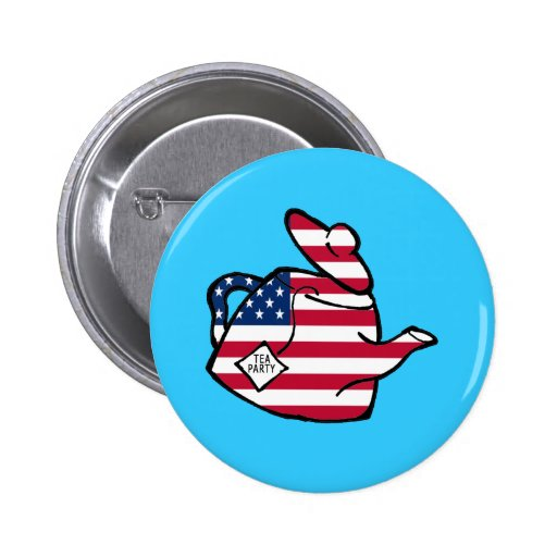 A Teapot in American Flag Colors Buttons