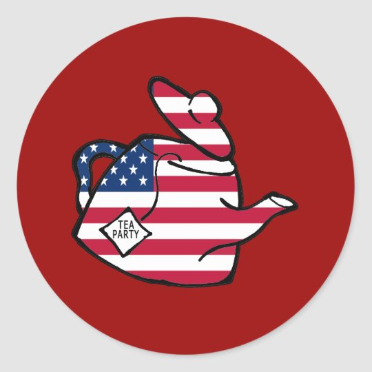 A Teapot in American Flag Colors Classic Round Sticker