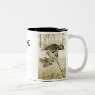 A teddy bear with a flower, MissingYOU Two-Tone Coffee Mug