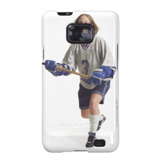 a teenage caucasian female in a white jersey galaxy SII cover