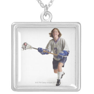 a teenage caucasian female in a white jersey silver plated necklace