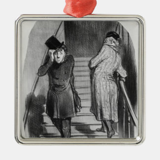 A tenant who owes three terms square metal christmas ornament