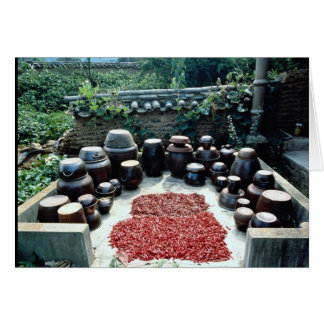 A terrace where soy sauce crocks are placed cards