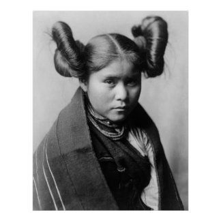 A Tewa Indian girl with fancy hairstyle Print