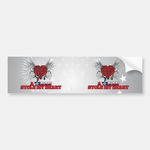 A Texan Stole my Heart Bumper Stickers