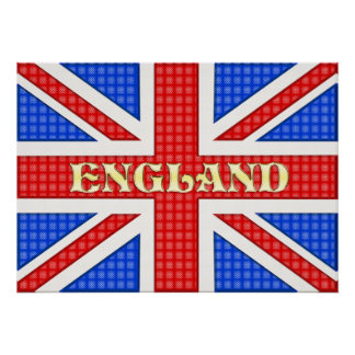 A textured Union Jack flag with England written ac Poster