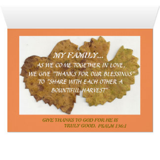 "A""THANKFUL"" Thanksgiving card for the whole family"