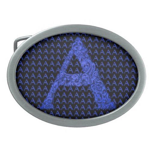 A- The Falck Alphabet (Blue) Oval Belt Buckles