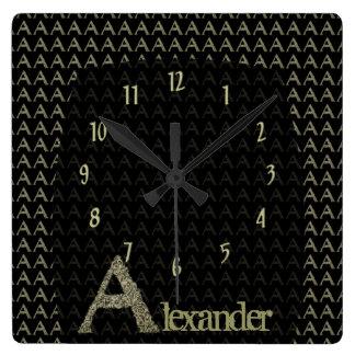 A- The Falck Alphabet (Golden) Square Wall Clock