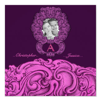 A- The Falck Alphabet (Pink) 5.25x5.25 Square Paper Invitation Card