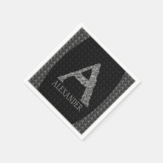 A - The Falck Alphabet (Silvery) Standard Cocktail Napkin