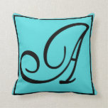 A - The Letter A on Aqua Background Throw Pillows