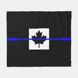 A Thin Blue Line Canadian Flag Fleece Blanket
