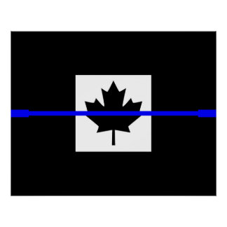 A Thin Blue Line Canadian Flag Poster