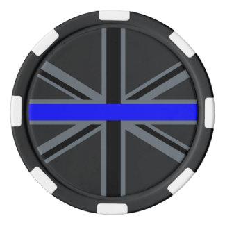 A Thin Blue Line Union Jack Set Of Poker Chips