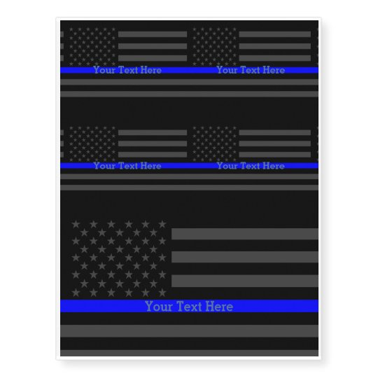 A Thin Blue Line Us Flag Personalized Graphic Temporary Tattoos