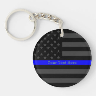 A Thin Blue Line US Flag Personalized Keeper Keychain
