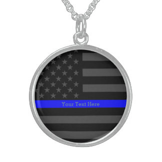 A Thin Blue Line US Flag Personalized Keepsake Sterling Silver Necklace