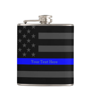 A Thin Blue Line US Flag Your Text Personalized Hip Flask