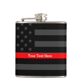 A Thin Red Line US Flag Your Text Personalized Hip Flask
