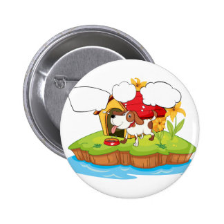 A thinking pet beside his doghouse 2 inch round button